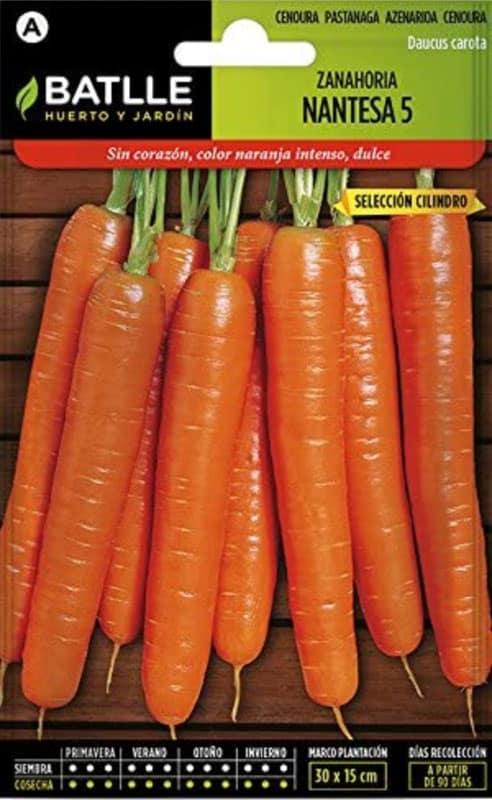 Semillas Hortícolas - Zanahoria Nantesa 5 sel. Cilindro